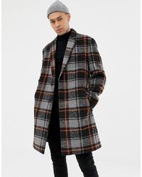 dunkelgrauer Mantel mit Schottenmuster von ASOS DESIGN