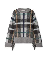 dunkelgrauer Oversize Pullover mit Schottenmuster von Stella McCartney