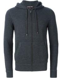 dunkelgrauer Pullover mit einem Kapuze