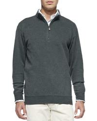 dunkelgrauer Pullover mit einem Reißverschluss am Kragen