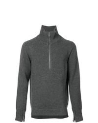 dunkelgrauer Pullover mit einem Reißverschluss am Kragen von Burberry