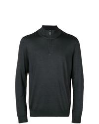dunkelgrauer Pullover mit einem Reißverschluss am Kragen von Canali