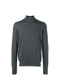 dunkelgrauer Pullover mit einem Reißverschluss am Kragen von Fay