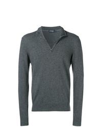 dunkelgrauer Pullover mit einem Reißverschluss am Kragen von Hackett