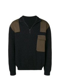 dunkelgrauer Pullover mit einem Reißverschluss am Kragen von Holland & Holland