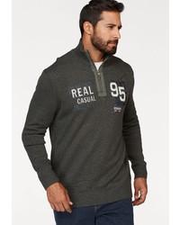 dunkelgrauer Pullover mit einem Reißverschluss am Kragen von MAN´S WORLD