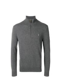 dunkelgrauer Pullover mit einem Reißverschluss am Kragen von Polo Ralph Lauren