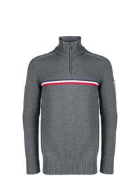 dunkelgrauer Pullover mit einem Reißverschluss am Kragen von Rossignol