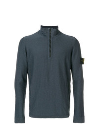 dunkelgrauer Pullover mit einem Reißverschluss am Kragen von Stone Island