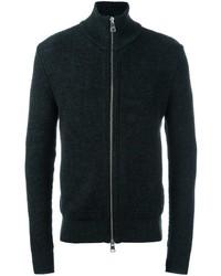 dunkelgrauer Pullover mit einem Reißverschluß von AMI Alexandre Mattiussi
