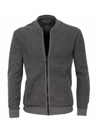 dunkelgrauer Pullover mit einem Reißverschluß von Casamoda