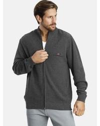 dunkelgrauer Pullover mit einem Reißverschluß von Jan Vanderstorm