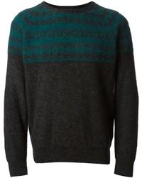 dunkelgrauer Pullover mit einem Rundhalsausschnitt mit Fair Isle-Muster