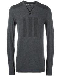 dunkelgrauer Pullover mit einem Rundhalsausschnitt von adidas