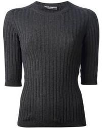 dunkelgrauer Pullover mit einem Rundhalsausschnitt von Dolce & Gabbana