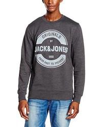 dunkelgrauer Pullover mit einem Rundhalsausschnitt von Jack & Jones