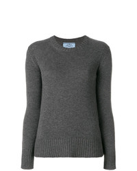 dunkelgrauer Pullover mit einem Rundhalsausschnitt von Prada