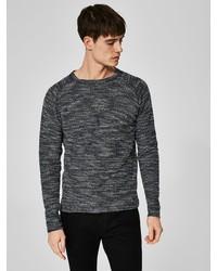 dunkelgrauer Pullover mit einem Rundhalsausschnitt von Selected Homme