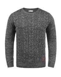 dunkelgrauer Pullover mit einem Rundhalsausschnitt von Solid