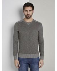 dunkelgrauer Pullover mit einem Rundhalsausschnitt von Tom Tailor