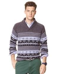 dunkelgrauer Pullover mit einem Schalkragen mit Fair Isle-Muster