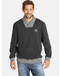 dunkelgrauer Pullover mit einem Schalkragen von Jan Vanderstorm