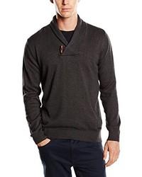 dunkelgrauer Pullover mit einem Schalkragen von Tom Tailor