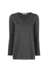 dunkelgrauer Pullover mit einem V-Ausschnitt