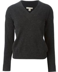 dunkelgrauer Pullover mit einem V-Ausschnitt von Burberry