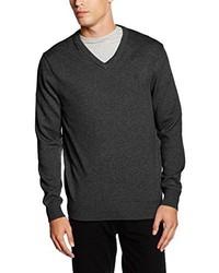 dunkelgrauer Pullover mit einem V-Ausschnitt von Crew Clothing