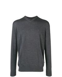 dunkelgrauer Pullover mit einem V-Ausschnitt von Emporio Armani
