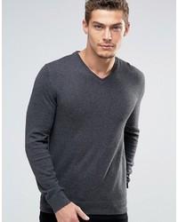 dunkelgrauer Pullover mit einem V-Ausschnitt von Esprit