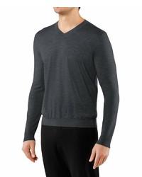 dunkelgrauer Pullover mit einem V-Ausschnitt von Falke