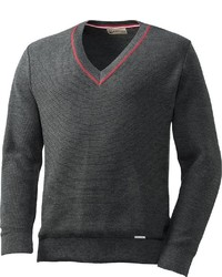 dunkelgrauer Pullover mit einem V-Ausschnitt von Giesswein