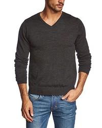 dunkelgrauer Pullover mit einem V-Ausschnitt von JACK & JONES PREMIUM