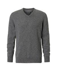 dunkelgrauer Pullover mit einem V-Ausschnitt von Marc O'Polo