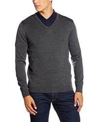 dunkelgrauer Pullover mit einem V-Ausschnitt von Paul James Knitwear