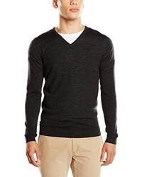 dunkelgrauer Pullover mit einem V-Ausschnitt von Tom Tailor