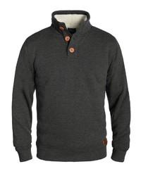 dunkelgrauer Pullover mit einem zugeknöpften Kragen von BLEND