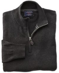 Dunkelgrauer Pullover mit Reißverschluss am Kragen von Charles Tyrwhitt