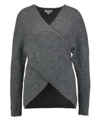 Dunkelgrauer Pullover mit V-Ausschnitt von Bik Bok