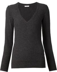 dunkelgrauer Pullover mit einem V-Ausschnitt von Chloé