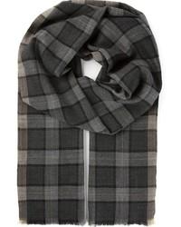 dunkelgrauer Schal mit Vichy-Muster von Tom Ford