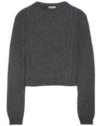 dunkelgrauer Strick kurzer Pullover von Miu Miu