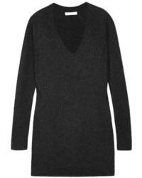 dunkelgrauer Strick Oversize Pullover