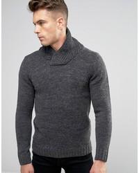 dunkelgrauer Strick Pullover mit einem Schalkragen von Blend of America