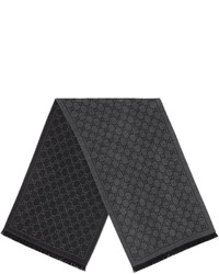 dunkelgrauer Strick Schal von Gucci