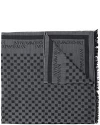 dunkelgrauer Wollschal mit Karomuster von Emporio Armani