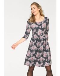 dunkelgraues ausgestelltes Kleid mit Blumenmuster von CHEER