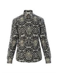 dunkelgraues bedrucktes Langarmhemd